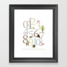 Woodland Numbers - Pink Framed Art Print