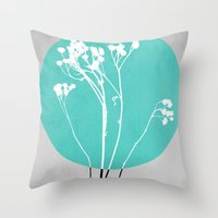 decal Throw Pillows featuring Abstract Flowers 1 by Mareike Böhmer