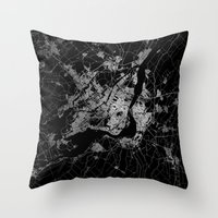 montreal Throw Pillows featuring montreal map by Line Line Lines