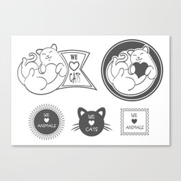 Vector Set: cute Pet Labels cat, love animals  Canvas Print