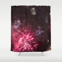 fireworks Shower Curtains featuring Fireworks 3 by Veronika