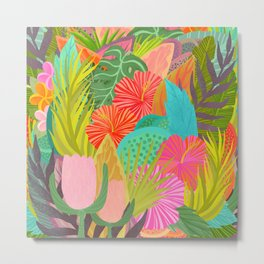 Saturated Tropical Plants and Flowers Metal Print