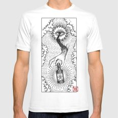 Sky god passing on the elixir of death to defeat ones enemies.  MEDIUM White Mens Fitted Tee
