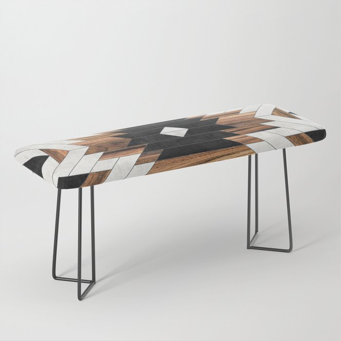 Urban Tribal Pattern No.5 - Aztec - Concrete and Wood Bench