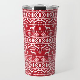 Doberman Pinscher fair isle christmas sweater cute dog breed gifts Travel Mug