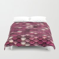 bisexual Duvet Covers featuring Pink sparkling scales by UtArt