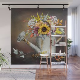 Farm Sunflowers in Watering Can Wall Mural