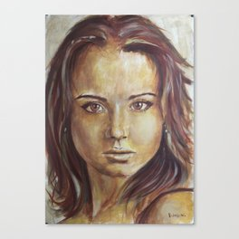 The process of creating a portrait with oil. Canvas Print