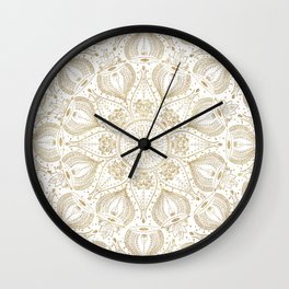 Boho Chic gold mandala design Wall Clock