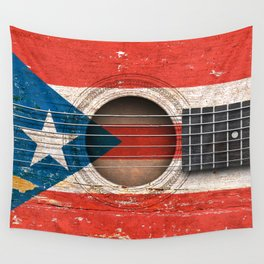 Old Vintage Acoustic Guitar with Puerto Rican Flag Wall Tapestry