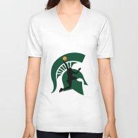 michigan V-neck T-shirts featuring Michigan Basketball by Anthony M. Davis