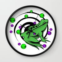 frog Wall Clocks featuring Frog  by Michael P. Moriarty