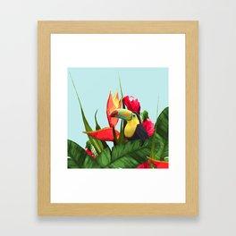 Toucan Tropical Banana Leaves Bouquet Framed Art Print
