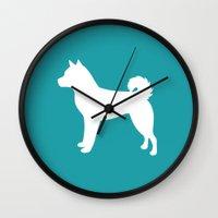 shiba inu Wall Clocks featuring Shiba Inu (Aqua/White) by Erin Rea