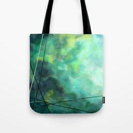 Crossed Green - Abstract Art Tote Bag