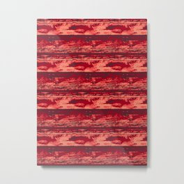 65 MCMLXV Red Abstract Texture Stripe Pattern Metal Print