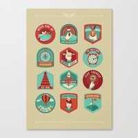 motivational Canvas Prints featuring Motivational badges by Nina
