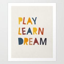 Play Learn Dream, Mid century modern kids wall art, Nursery room Art Print