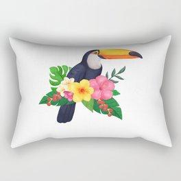 Tropical Toucan Floral Watercolor Rectangular Pillow