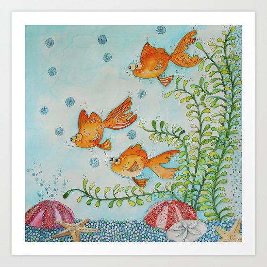 "Goldfish, ""Life in a Tank"" Art Print"