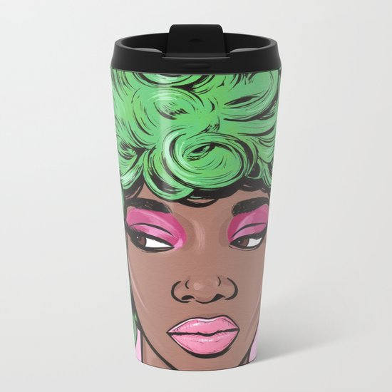 Green Kawaii Comic Girl Metal Travel Mug