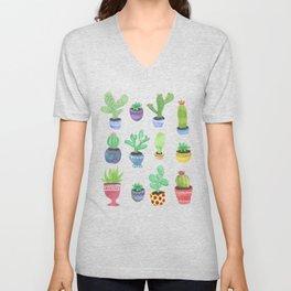 Watercolor Cactus + Succulents Unisex V-Neck