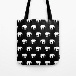 Black And White Elephants Tote Bag
