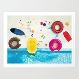 Toys by the pool Art Print