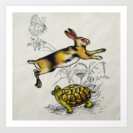 the hare and the tortoise Art Print
