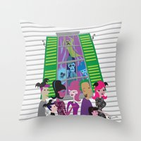 haunted mansion Throw Pillows featuring No Vacancy - Haunted Mansion Meets Bats Day by The Art of Noah K