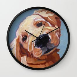 Golden Retriever Puppy Original Oil Painting Wall Clock