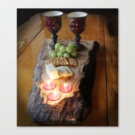 Rustic Wine and Cheese Canvas Print