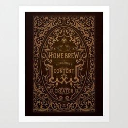 D20 Home Brew Content Creator Aged Label Art Print