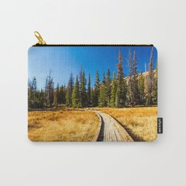 Wooden hiking trail in the forest Carry-All Pouch