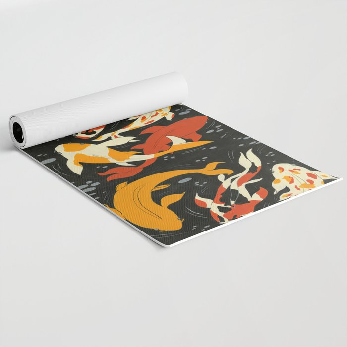 Koi in Black Water Yoga Mat