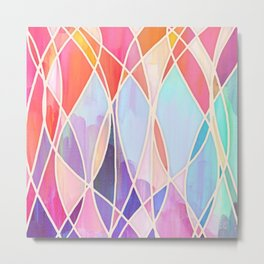 Purple & Peach Love - abstract painting in rainbow pastels Metal Print