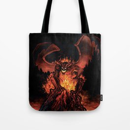 Fiery Monster on Volcano Tote Bag