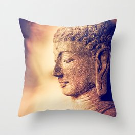 Stone Buddha in Meditation Throw Pillow