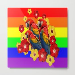 TROPICAL RAINBOW ART MACAWS & RED YELLOW HIBISCUS Metal Print