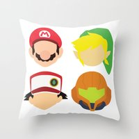 nintendo Throw Pillows featuring Nintendo Greats by MoleFole