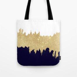 Modern navy blue white faux gold glitter brushstrokes Tote Bag