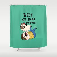 pug Shower Curtains featuring PUG by Jarvis Glasses