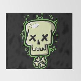 Toxic skull and crossbones green Throw Blanket