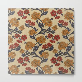 Vintage victorian floral upholstery fabric light background Metal Print