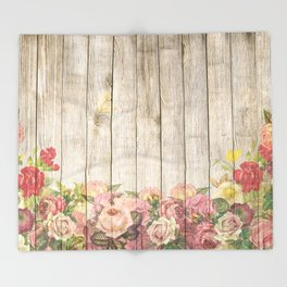 Vintage Rustic Romantic Roses Wooden Plank Throw Blanket