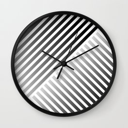 Stripes In Black & White 2 Wall Clock