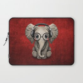 Cute Baby Elephant Dj Wearing Headphones and Glasses on Red Laptop Sleeve
