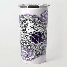 Pretty in Purple Zentangle Design Illustration Travel Mug