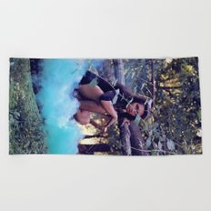 From the majesty she rises Beach Towel