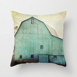 Aqua Barn Throw Pillow